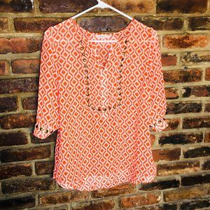41 Hawthorne Geometric Blouse Size Medium